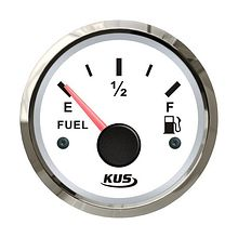 Fuel gauge 0-190 Ohm, White/Chrome