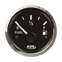 Fuel gauge 0-190 Ohm,  Black/Chrome