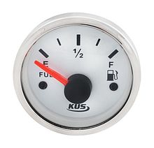 Fuel gauge 240-33 Ohms, White/Chrome