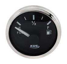 Fuel gauge 240-33 Ohms,  Black/Chrome