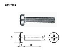 Screw round head screw DIN7985 A4 cross recess-M8h40 packing 1/10