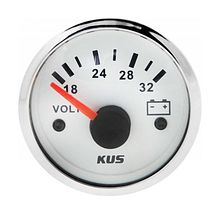 Voltmeter 18-32V, White/Chrome