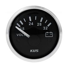 Voltmeter 18-32V, Black/Chrome