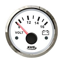 Voltmeter 8-16V, White /Chrome