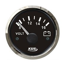 Voltmeter 8-16V, Black/Chrome