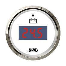 Voltmeter 8-32V, White/Chrome