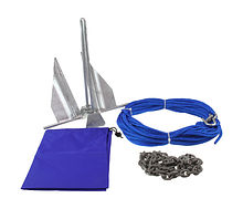 Danforth anchor  2.7 kg , with a chain 1.2 m and rope 30 m in a bag